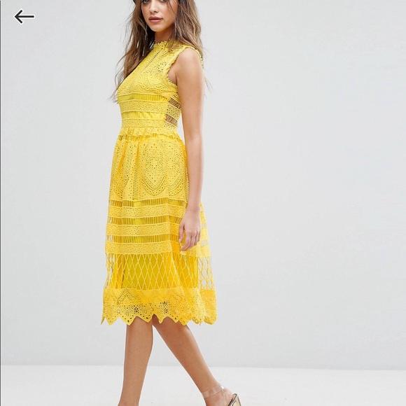 Boohoo Lace Midi Skater Dress